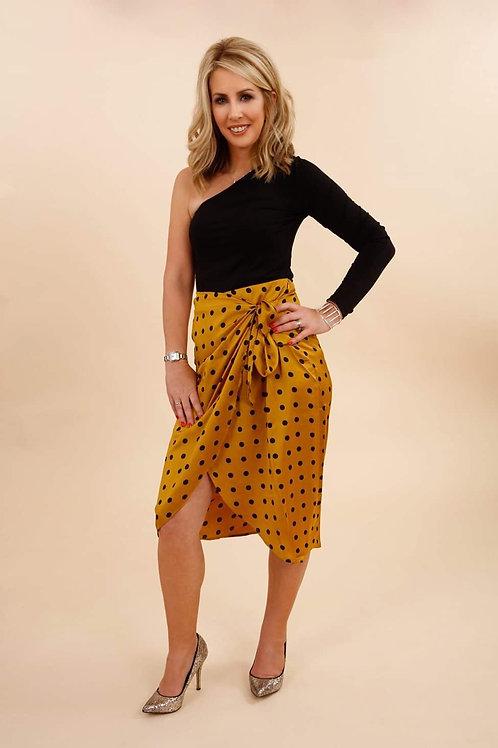 Gold Polka Dot Wrap Skirt