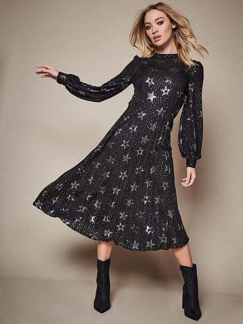 Sonder Studio Pleated Star Foil Midi Dress