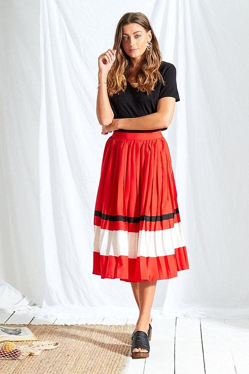 Neon Rose Sports Stripe Midi Skirt