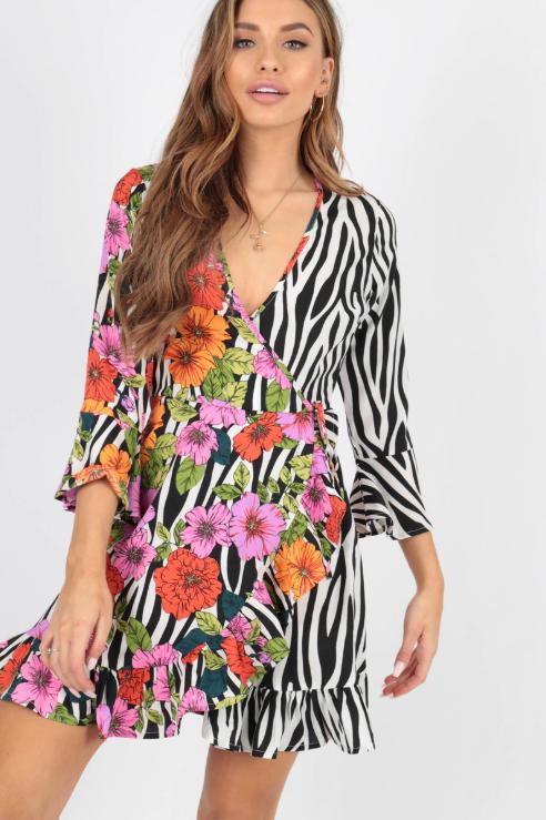 Zebra & Floral Contrast Wrap Dress