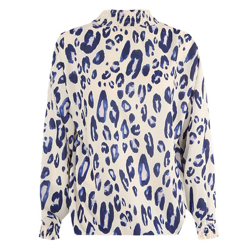 Faded Animal Print High Neck Blouse