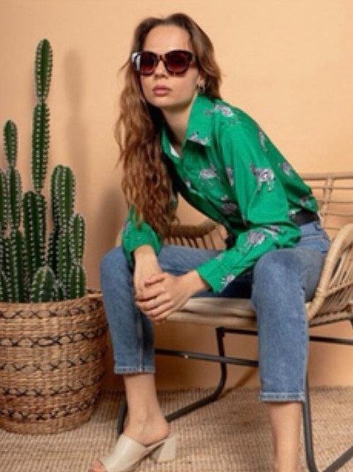 Green Zebra Print Shirt