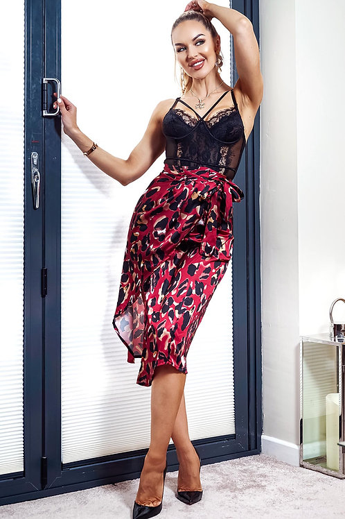 Wine Animal Print Wrap Skirt