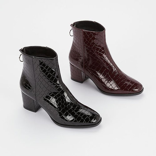 Mock Croc Boots with D-Ring Zip