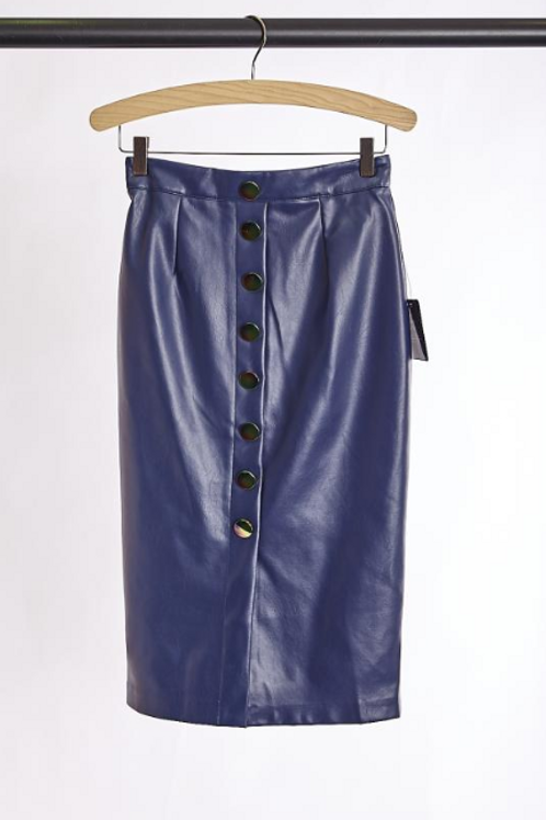 Faux Leather Navy Pencil Skirt