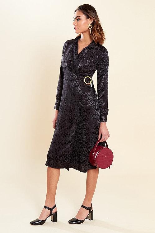 Black Satin Wrap Buckle Detail Dress