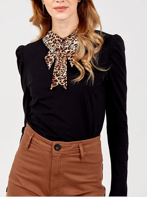 Leopard and Diamante Collar Top