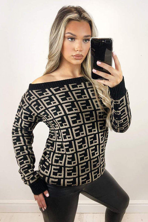 AX Paris Geo Printed Off-The-Shoulder Knit
