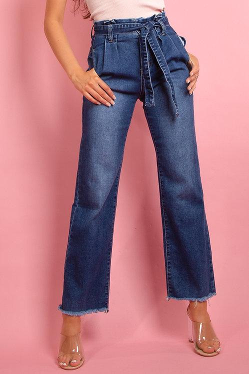 Wide Leg Paperbag Indigo Jeans