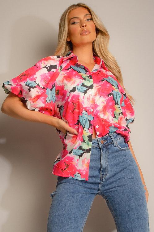 Floral Printed Puff Sleeves Shirt
