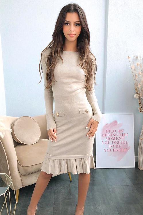 Beige Frill Hem Knitted Midi Dress