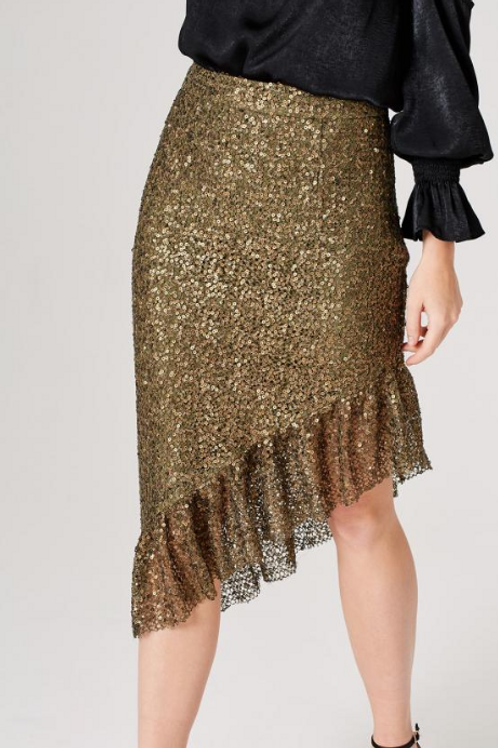 Khaki Sequin Asymmetric Skirt