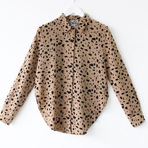 Beige Dalmatian Print Shirt