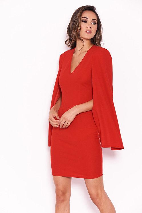 AX Paris Red Split Sleeve Dress