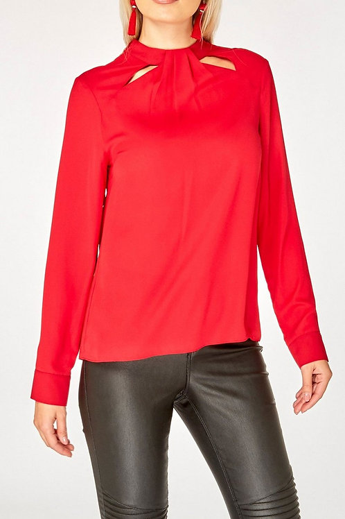 Red Cut-Out Neck Detail Top