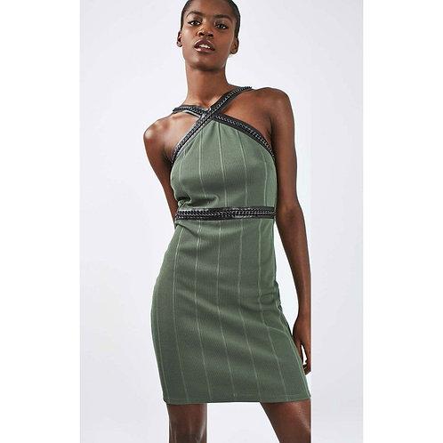Khaki Belt-Straps Bodycon Dress