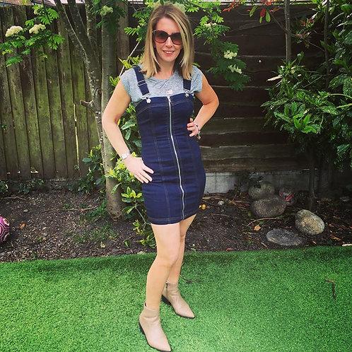 Zipped Front Denim Pinafore Dress