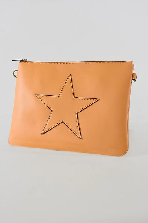 Mustard Star Clutch Bag