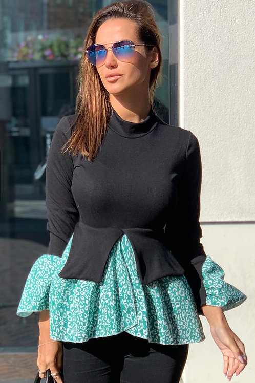Black Ribbed Top with Green Printed Peplum