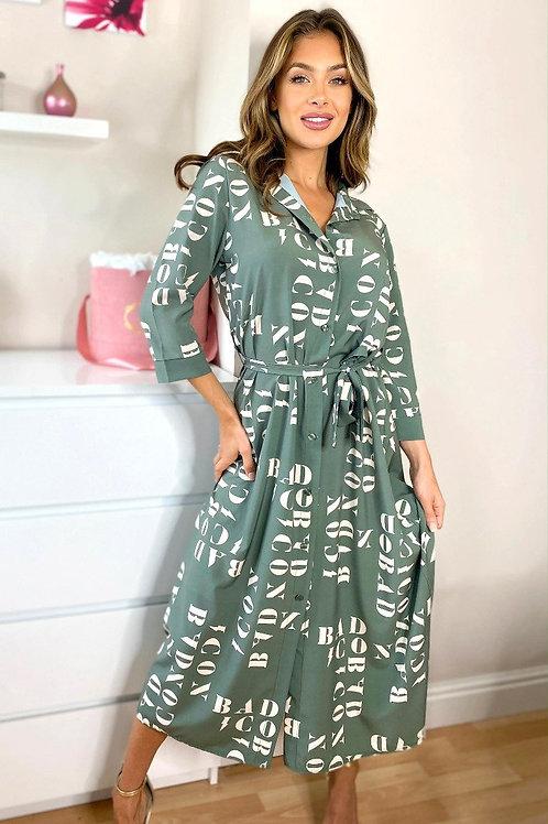 Green Letter Midaxi Shirt Dress
