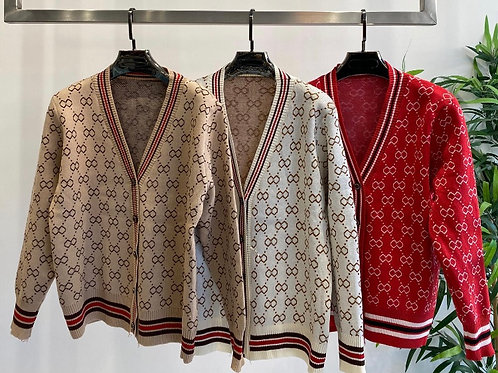 Patterned Cardigan with Sports Stripe Edging