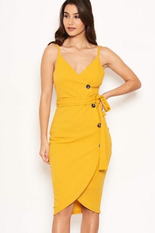 AX Paris Yellow Button Front Detail Dress
