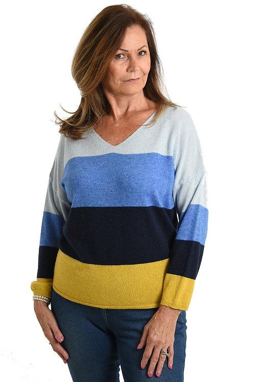 Blue Mustard Stripe Cashmere Blend Jumper