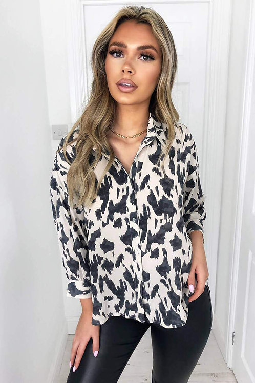 Cream Printed Dip Hem Shirt