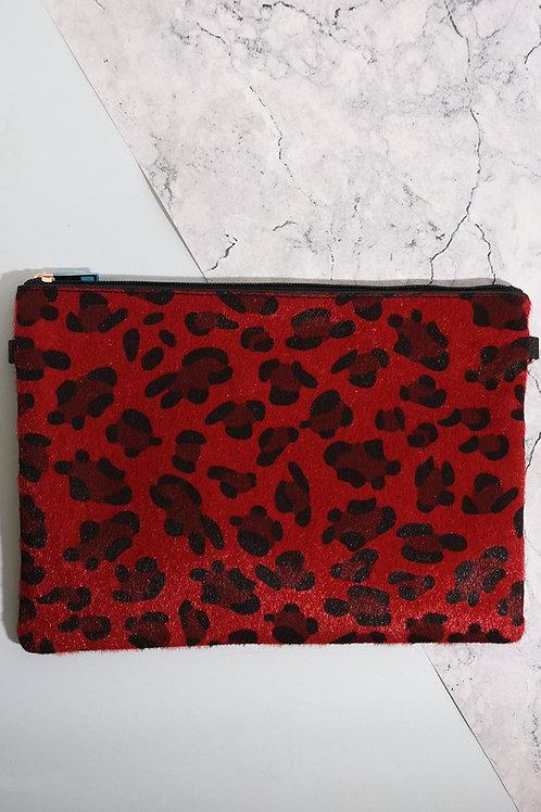 Red Leopard Clutch Bag