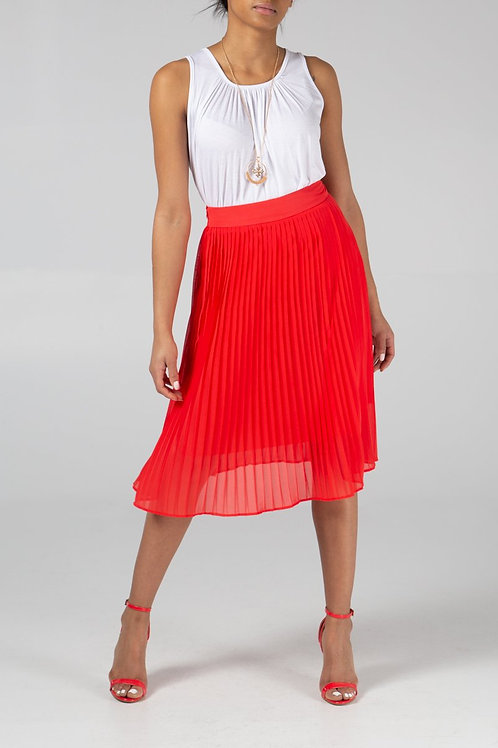 Structured Pleated Midi Skirt