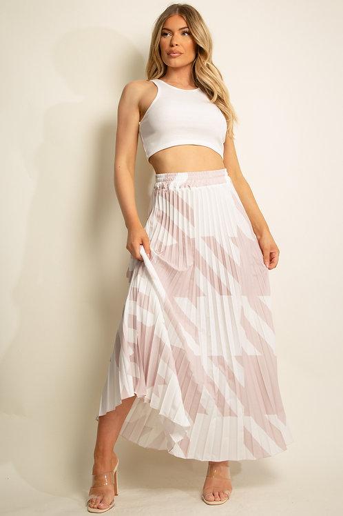 Dogtooth Print Pleated Maxi Skirt