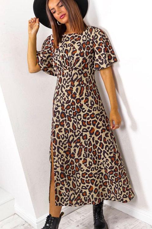 John Zack Leopard Midi Dress