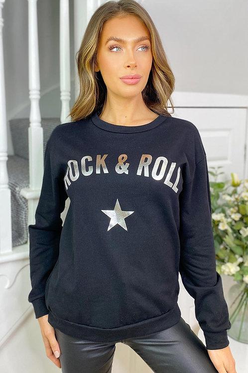 Rock & Roll Slogan Black Sweatshirt