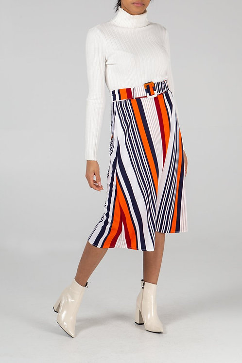 Multi Stripe A Line Skirt