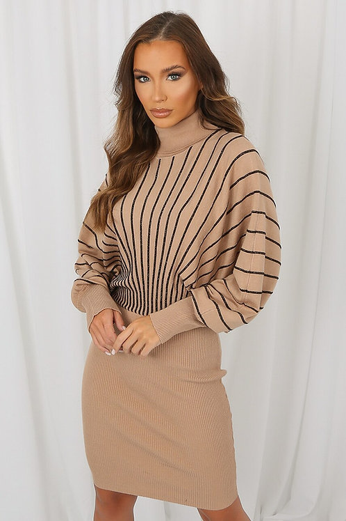 Polo Neck Stripe Midi Jumper Dress