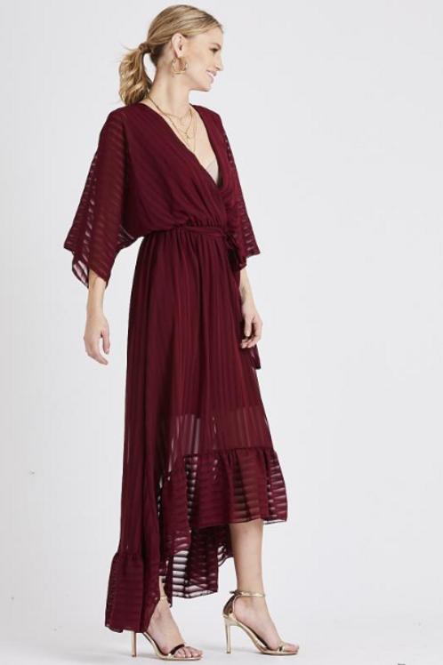 Burgundy Maxi Plunge Dress