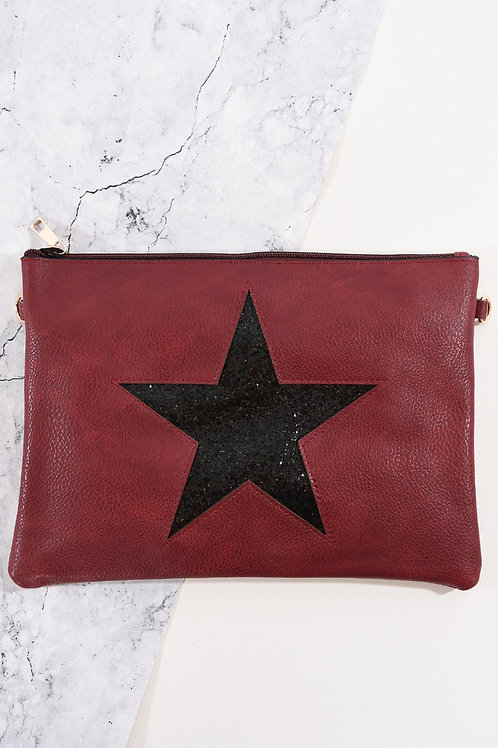 Burgundy Black Glitter Star Clutch