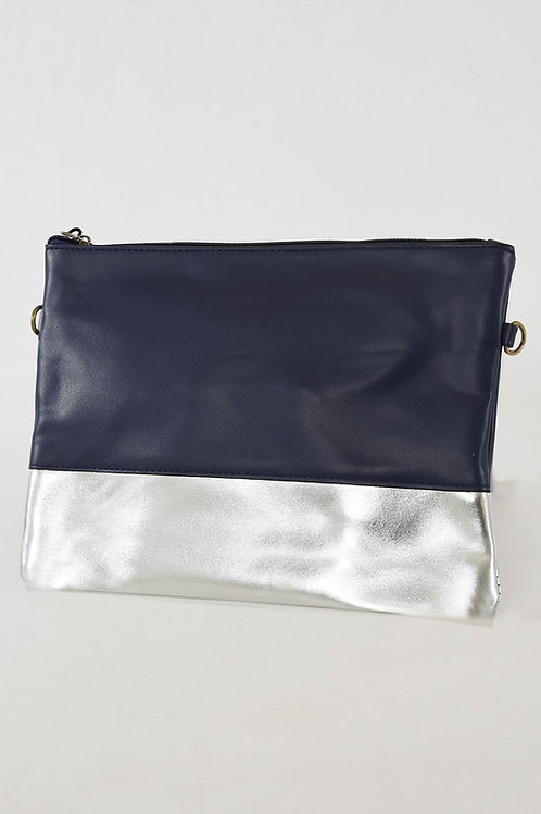 Navy and Silver Colour Block Clutch Bag