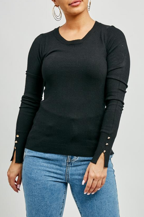 Black Gold Button Sleeved Jumper