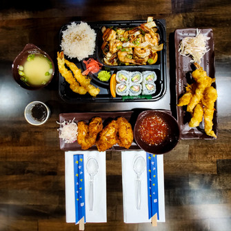 Bento Box and Chicken Wings