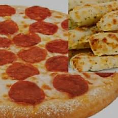 Lg Pepperoni Pizza & Med Garlic Fingers