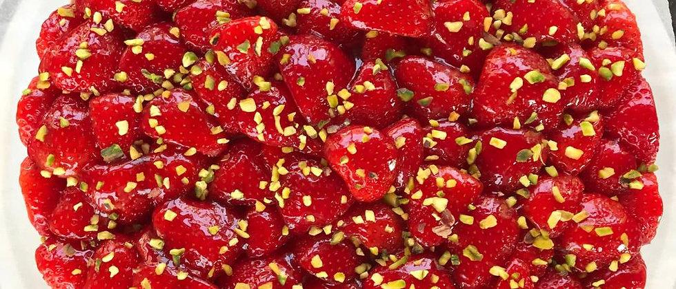 Croute aux fraises éclat de pistache