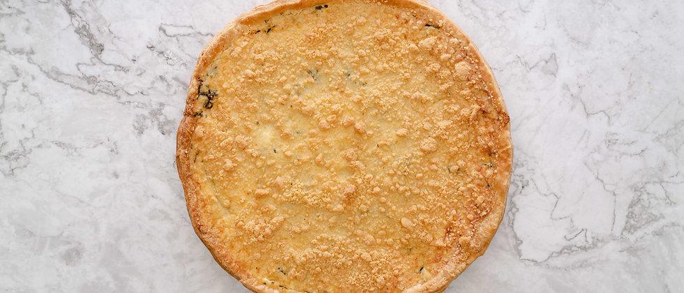 Quiche Courgettes, fêta, menthe et Crumble de Parmesan