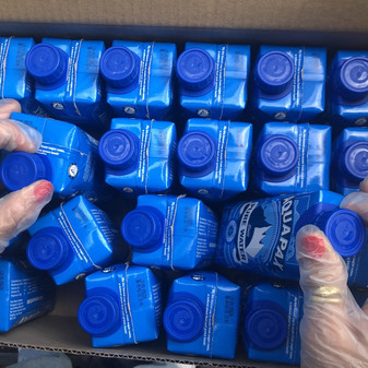 408 cartons of water donated to St. Mungo's