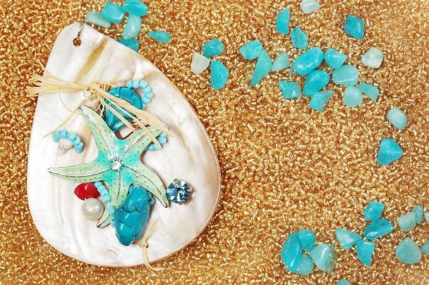 adornment from the semi precious stones.