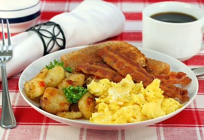Eggs, home fries, bacon and toast for br