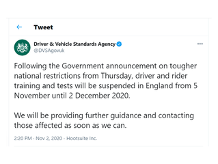 DVSA Announcement