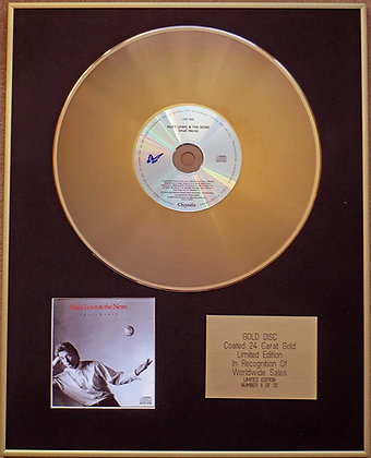 HUEY LEWIS & THE Limited Edition 24 Carat Gold Disc - SMALL WORLD