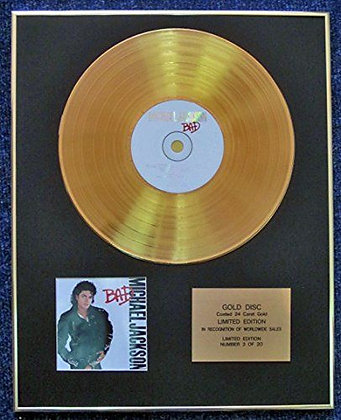 Michael Jackson - Limited Edition CD 24 Carat Gold Coated LP Disc - Bad