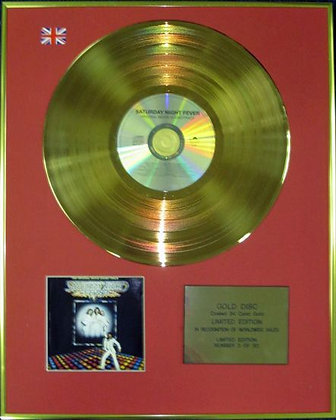 SATURDAY NIGHT FEVER (BEE GEES) Ltd Edition 24Carat Coated Gold Disc -SOUNDTRACK